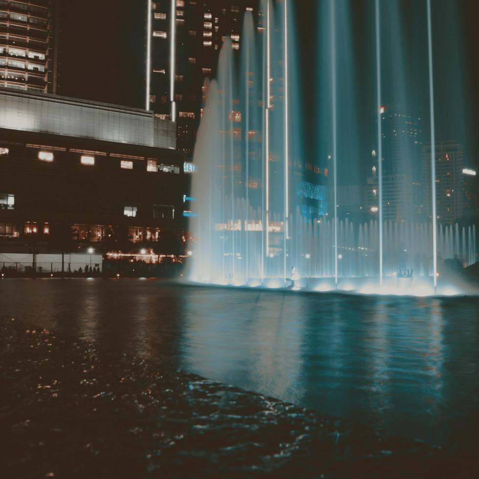 KLCC fountain show at night.