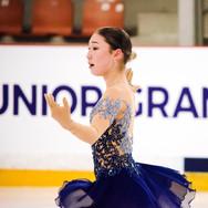 Alana Toktarova performing her free program at the ISU Junior Grand Prix Riga 2019.