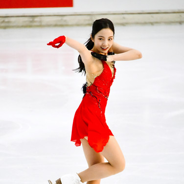 Marin Honda performing her short program at the 2020 Bavarian Open.