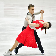 Allison Reed / Saulius Ambrulevičius performing their rhythm dance at the 2020 Bavarian Open.