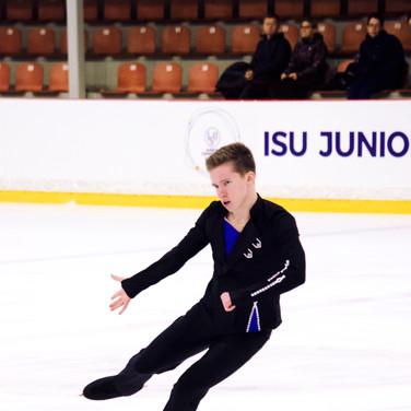 Andrei Mozalev performing his free program at the ISU Junior Grand Prix Riga 2019.