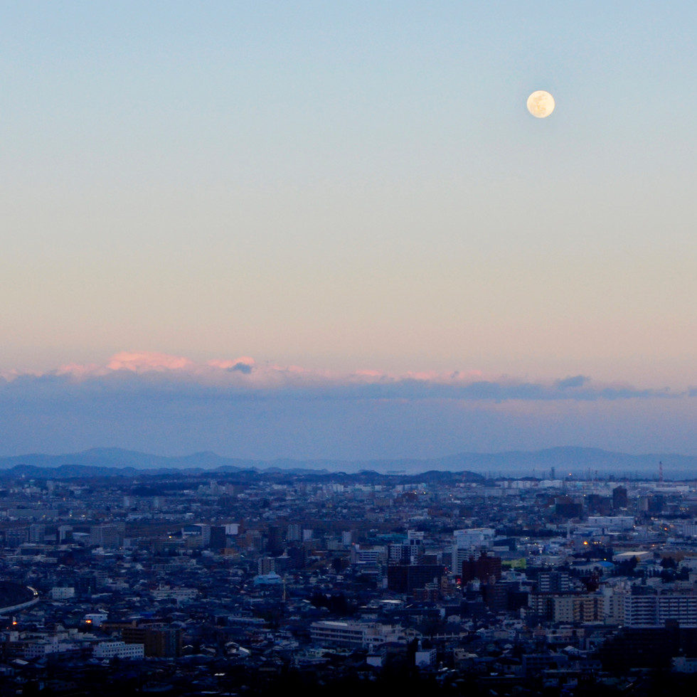 Evening view on Sendai from the observation deck.