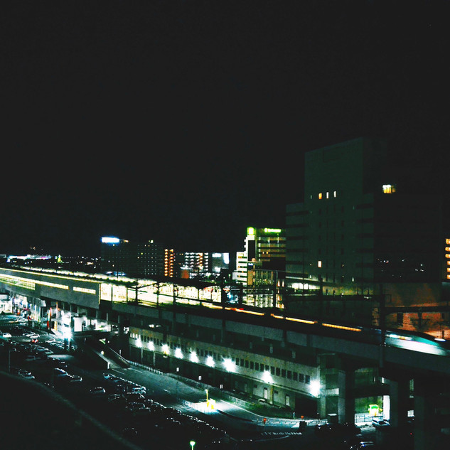 Fukushima station at night.