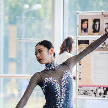 Haein Lee during the off-ice warm-up before her Short Program at the ISU Junior Grand Prix Riga Cup 2019.