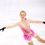 Ekaterina Kurakova during the practice at the ISU Junior Grand Prix Riga Cup 2019.