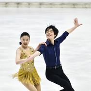 Utana Yoshida / Shingo Nishiyama performing their rhythm dance at the Bavarian Open 2020.