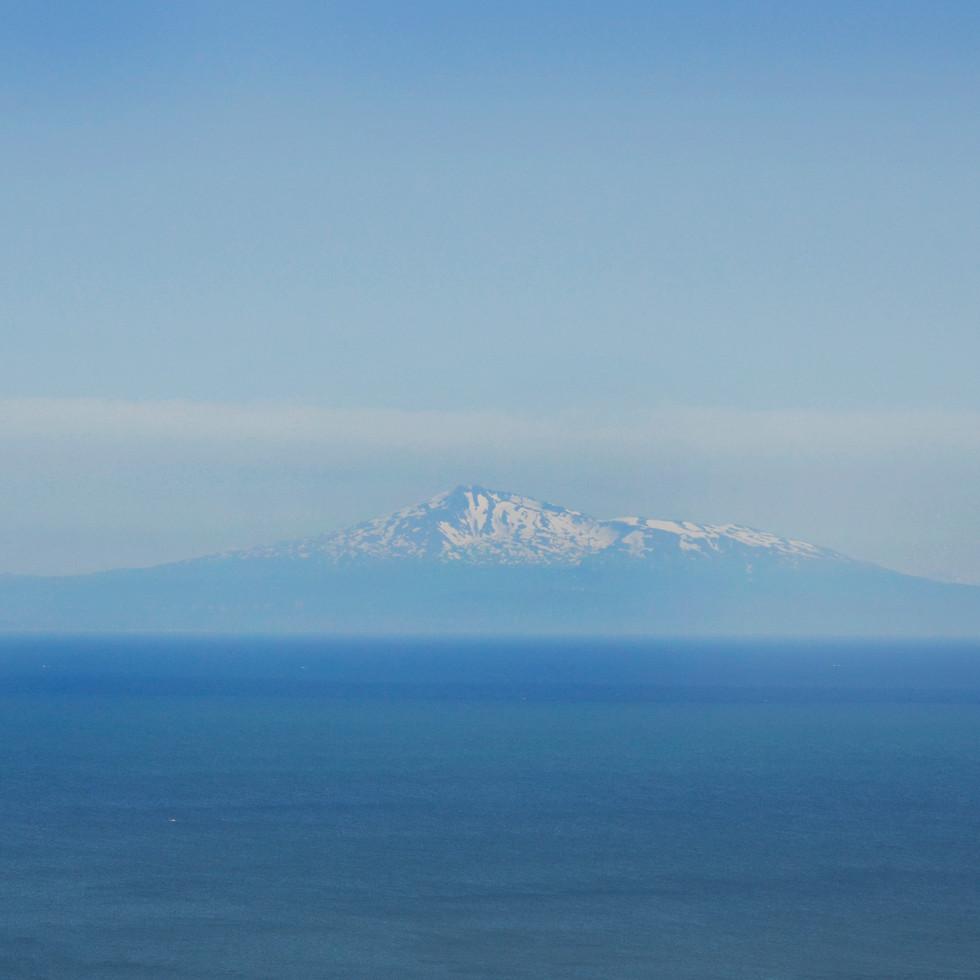 The view on mount Chokai from mount Kanpu, Oga.