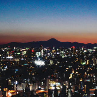 The view on Mount Fuji from Tokyo Tower.