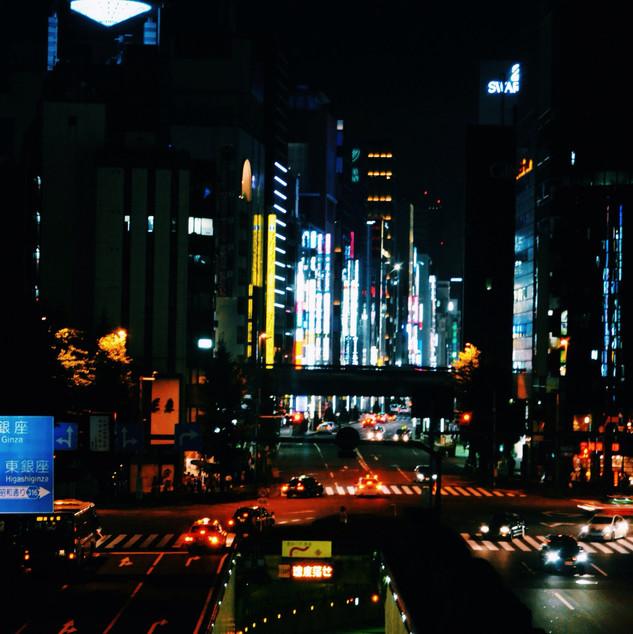 Night view from Shimbashi station.