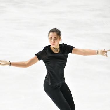 Maria Talalaykina during the free skating practice at Russian National Championships 2020.  Мария Талалайкина на тренировке произвольной программы на Чемпионате России 2020.