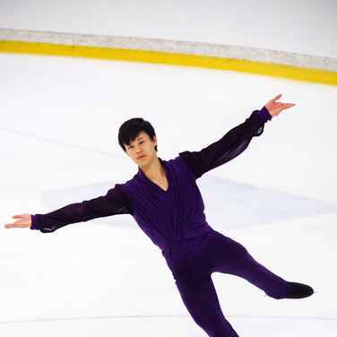 Joseph Phan during the free  skating practice at the ISU Junior Grand Prix Riga Cup 2019.