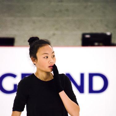 Isabelle Inthisone during the practice at the ISU Junior Grand Prix Riga Cup 2019.