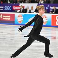 Ilia Yablokov during his free skating at the Russian National Championships 2020.  Илья Яблоков в произвольной программе на Чемпионате России 2020.