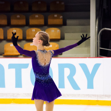Maia Khromykh during the practice at the ISU Junior Grand Prix Riga Cup 2019.