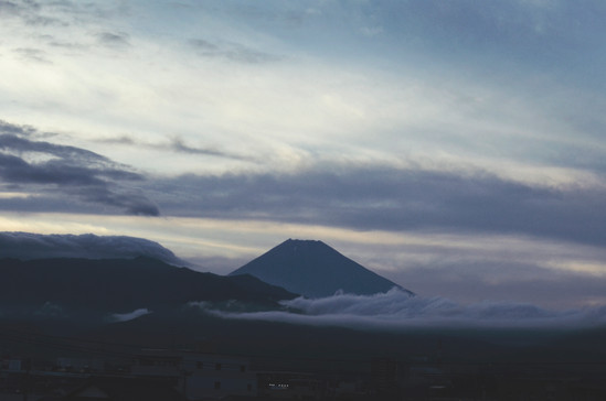 A view on Mount Fuji from a bullet train