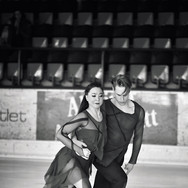 Allison Reed / Saulius Ambrulevičius during the free dance practice at the 2020 Bavarian Open.