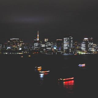 Night view from the Rainbow Bridge.