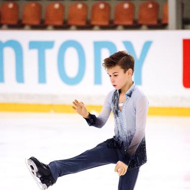 Daniil Samsonov performing his short program at the ISU Junior Grand Prix Riga Cup 2019.