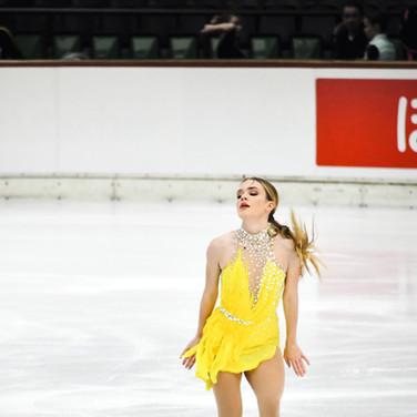 Isadora Williams performing her short program at the 2020 Bavarian Open.