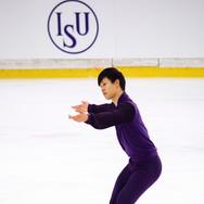 Joseph Phan during the free  skating practice at the ISU Junior Grand Prix Riga Cup 2019.