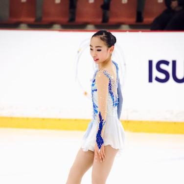 Rino Matsuike performing her free program at the ISU Junior Grand Prix Riga 2019.