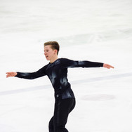 Andrei Mozalev during the free  skating practice at the ISU Junior Grand Prix Riga Cup 2019.