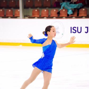 Jogaile Aglinskyte performing her free program at the ISU Junior Grand Prix Riga 2019.