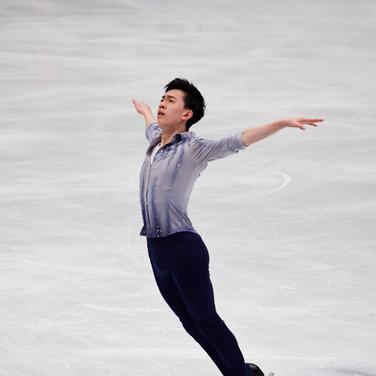 Vincent Zhou performing his short program at the ISU World Championships 2018.
