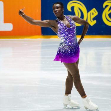 Maé-Bérénice Méité during the short program at the Challenge Cup 2019.