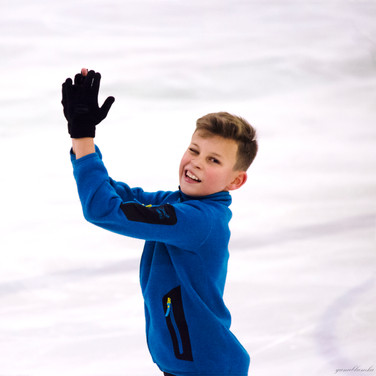 Lev Vinokur during the free  skating practice at the ISU Junior Grand Prix Riga Cup 2019.