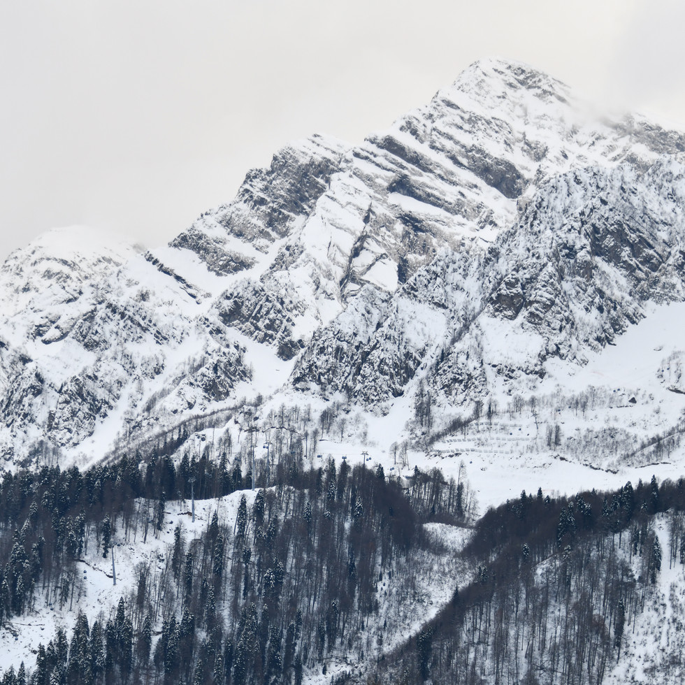 Causasus mountains in Rosa Khutor Ski Resort.  Кавказские горы. Горнолыжный курорт Роза Хутор