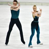 Ekaterina Mironova & Evgenii Ustenko performing their rhythm dance at the 2020 Bavarian Open.