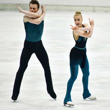 Ekaterina Mironova & Evgenii Ustenko performing their rhythm dance at the 2020 Bavarian Open.