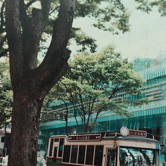 Sendai Loople Bus and Sendai Mediateque.