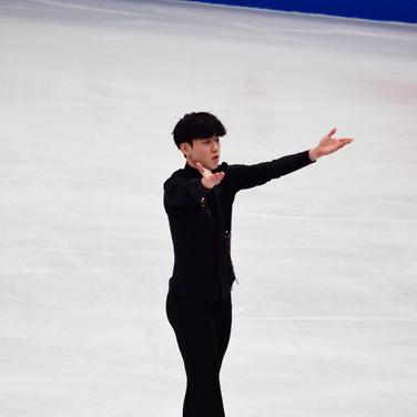 Jinseo Kim performing his short program at the ISU World Championships 2018.