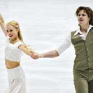 Haley Sales / Nikolas Wamsteeker performing their rhythm dance at the 2020 Bavarian Open.