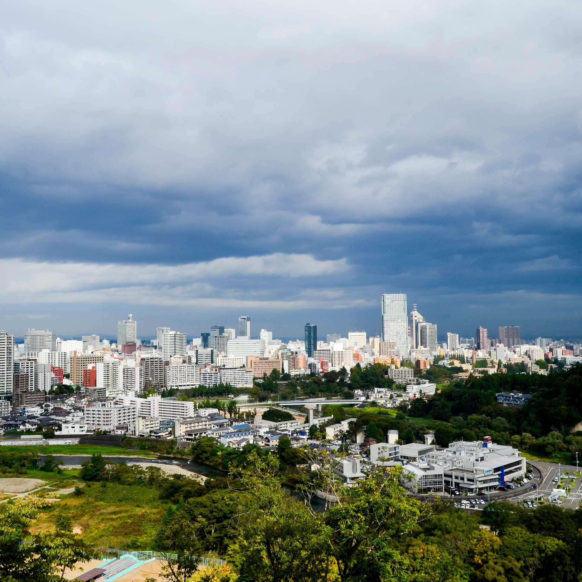 Sendai skyline.