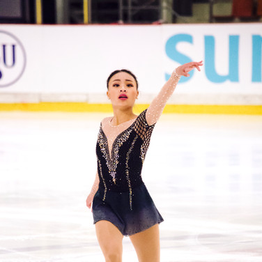 Isabelle Inthisone performing her free program at the ISU Junior Grand Prix Riga 2019.