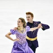 Nadiia Bashynska / Peter Beaumont performing their rhythm dance at the Bavarian Open 2020.