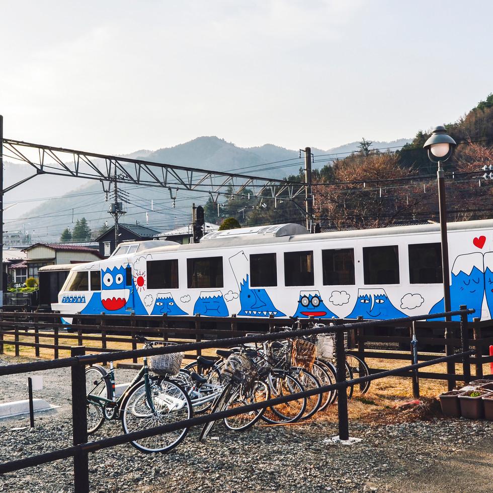 Fujisan themed train in Fujiyoshida.
