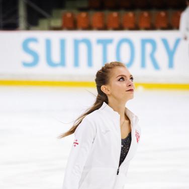 Maria Kazakova during the warm-up before the free  dance at the ISU Junior Grand Prix Riga Cup 2019.