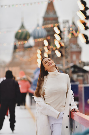 Model: Ksenia from Russia  Place: GUM Ice Rink, Moscow  December 2020