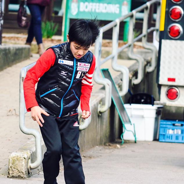 Haruya Sasaki during the off-ice warm-up.