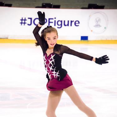 Kaiya Ruiter during the practice at the ISU Junior Grand Prix Riga Cup 2019.