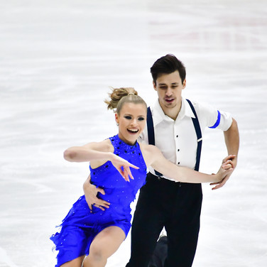 Molly Lanaghan / Dmitre Razgulajevs performing their rhythm dance at the 2020 Bavarian Open.
