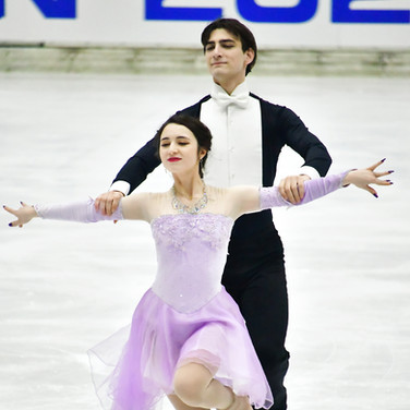 Chelsea Verhaegh & Sherim Van Geffen performing their rhythm dance at the 2020 Bavarian Open.