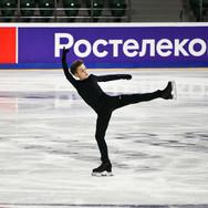 Daniil Samsonov during the free skating practice at Russian National Championships 2020.  Даниил Самсонов на тренировке произвольной программы на Чемпионате России 2020.