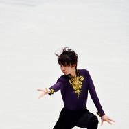 Kazuki Tomono performing his short program at the ISU World Championships 2018.