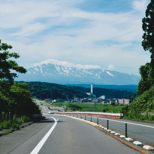The view on the Mount Chokai from the highway.