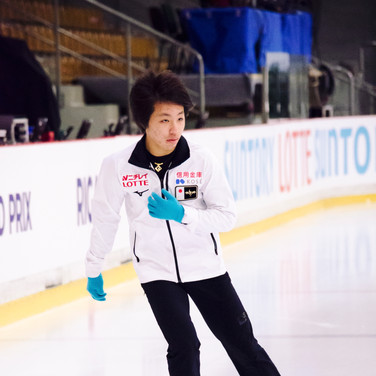 Kao Miura during the free  skating practice at the ISU Junior Grand Prix Riga Cup 2019.
